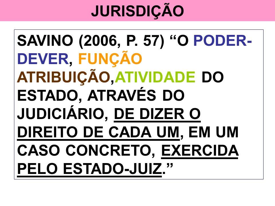 JURISDIÇÃO SAVINO (2006, P. 57) O PODER- DEVER, FUNÇÃO ATRIBUIÇÃO,ATIVIDADE DO ESTADO, ATRAVÉS DO JUDICIÁRIO, DE DIZER O DIREITO DE CADA UM, EM UM CAS