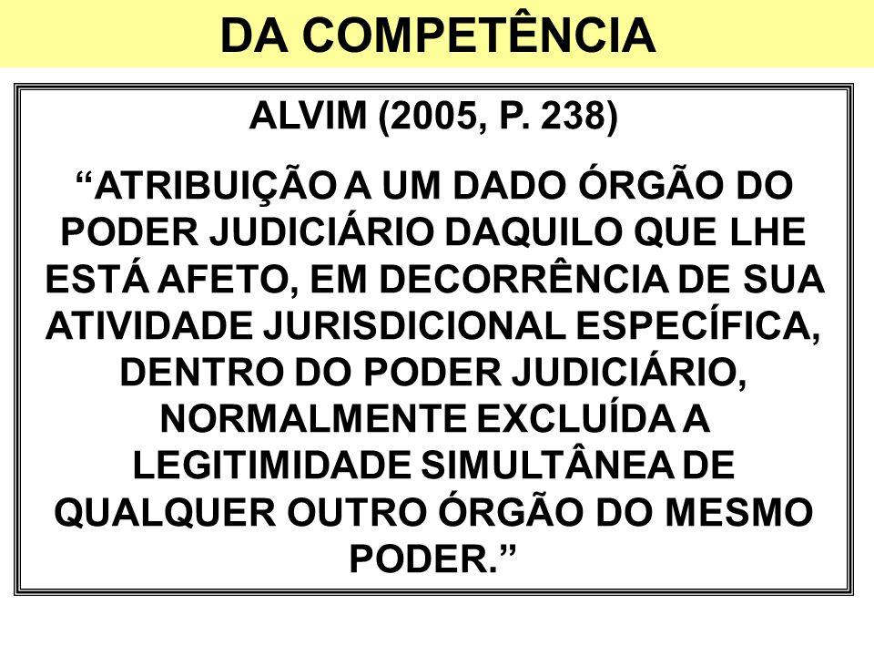 DA COMPETÊNCIA ALVIM (2005, P. 238) ATRIBUIÇÃO A UM DADO ÓRGÃO DO PODER JUDICIÁRIO DAQUILO QUE LHE ESTÁ AFETO, EM DECORRÊNCIA DE SUA ATIVIDADE JURISDI