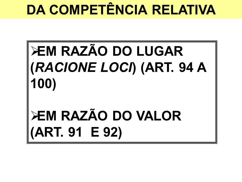 DA COMPETÊNCIA RELATIVA EM RAZÃO DO LUGAR (RACIONE LOCI) (ART. 94 A 100) EM RAZÃO DO VALOR (ART. 91 E 92)