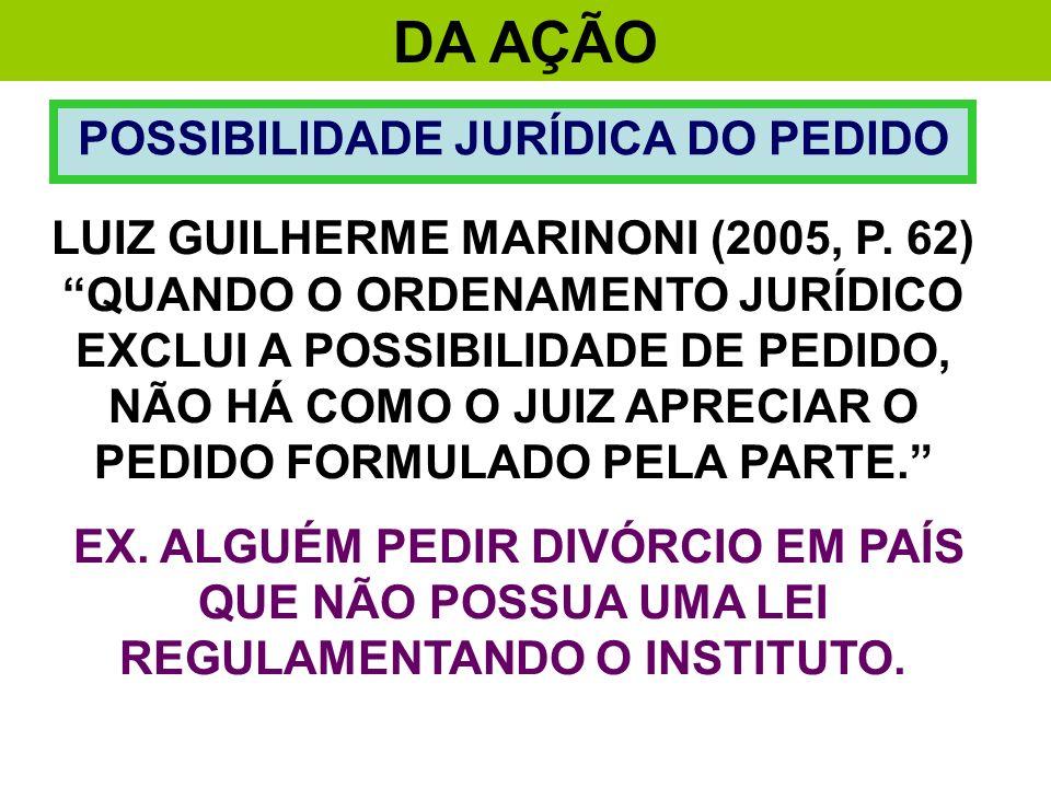 DA AÇÃO POSSIBILIDADE JURÍDICA DO PEDIDO LUIZ GUILHERME MARINONI (2005, P. 62) QUANDO O ORDENAMENTO JURÍDICO EXCLUI A POSSIBILIDADE DE PEDIDO, NÃO HÁ