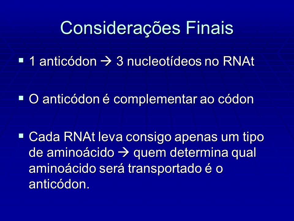 1 anticódon 3 nucleotídeos no RNAt 1 anticódon 3 nucleotídeos no RNAt O anticódon é complementar ao códon O anticódon é complementar ao códon Cada RNAt leva consigo apenas um tipo de aminoácido quem determina qual aminoácido será transportado é o anticódon.