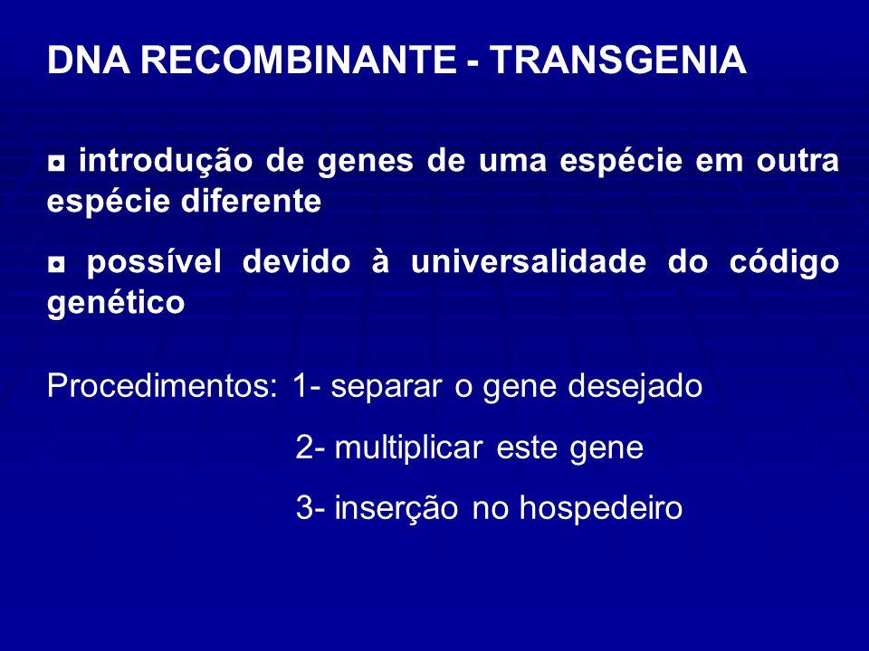 introdução de genes de uma espécie em outra espécie diferente possível devido à universalidade do código genético Procedimentos: 1- separar o gene desejado 2- multiplicar este gene 3- inserção no hospedeiro DNA RECOMBINANTE - TRANSGENIA