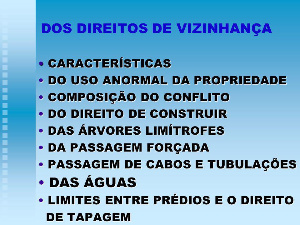 DOS DIREITOS DE VIZINHANÇA CARACTERÍSTICAS CARACTERÍSTICAS DO USO ANORMAL DA PROPRIEDADE DO USO ANORMAL DA PROPRIEDADE COMPOSIÇÃO DO CONFLITO COMPOSIÇÃO DO CONFLITO DO DIREITO DE CONSTRUIR DO DIREITO DE CONSTRUIR DAS ÁRVORES LIMÍTROFES DAS ÁRVORES LIMÍTROFES DA PASSAGEM FORÇADA DA PASSAGEM FORÇADA PASSAGEM DE CABOS E TUBULAÇÕES PASSAGEM DE CABOS E TUBULAÇÕES DAS ÁGUAS DAS ÁGUAS LIMITES ENTRE PRÉDIOS E O DIREITO LIMITES ENTRE PRÉDIOS E O DIREITO DE TAPAGEM DE TAPAGEM