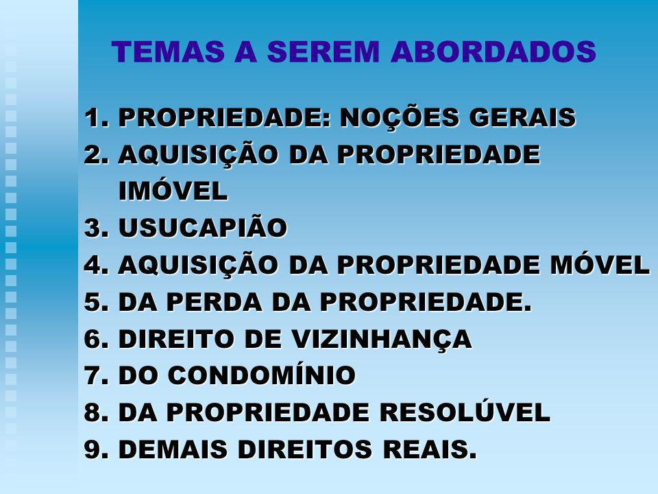 TEMAS A SEREM ABORDADOS 1.PROPRIEDADE: NOÇÕES GERAIS 2.
