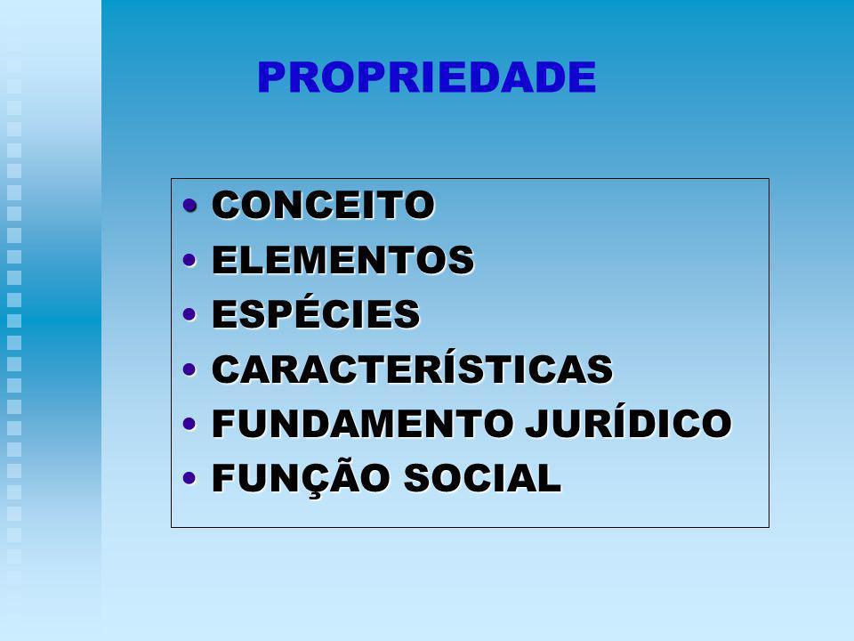 PROPRIEDADE CONCEITO CONCEITO ELEMENTOS ELEMENTOS ESPÉCIES ESPÉCIES CARACTERÍSTICAS CARACTERÍSTICAS FUNDAMENTO JURÍDICO FUNDAMENTO JURÍDICO FUNÇÃO SOCIAL FUNÇÃO SOCIAL