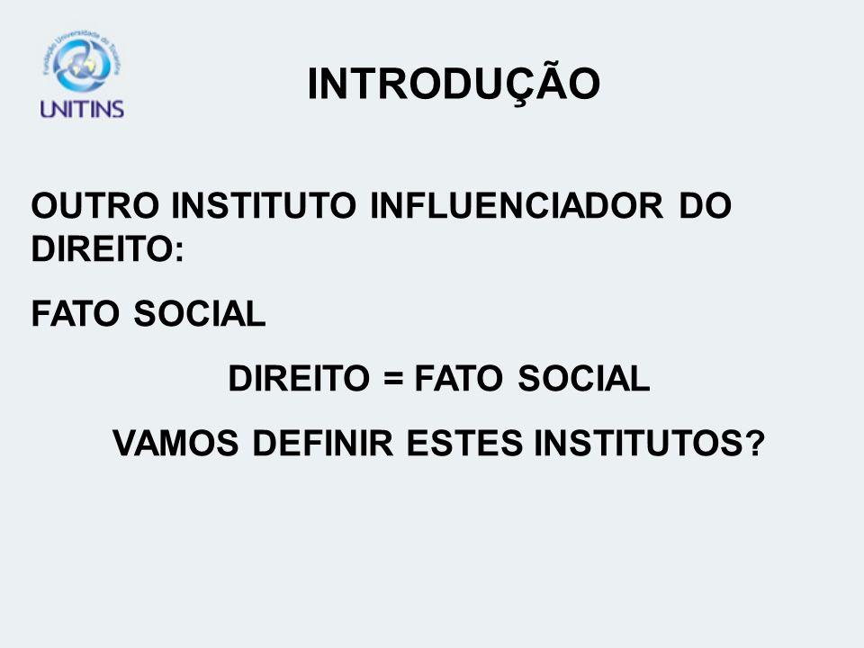 INTRODUÇÃO OUTRO INSTITUTO INFLUENCIADOR DO DIREITO: FATO SOCIAL DIREITO = FATO SOCIAL VAMOS DEFINIR ESTES INSTITUTOS?