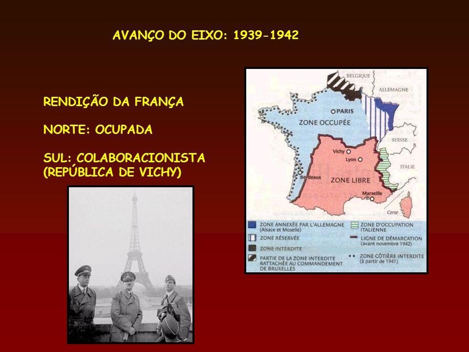 AVANÇO DO EIXO: 1939-1942 RENDIÇÃO DA FRANÇA NORTE: OCUPADA SUL: COLABORACIONISTA (REPÚBLICA DE VICHY)