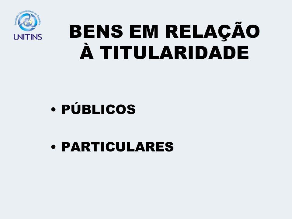 BENS EM RELAÇÃO À TITULARIDADE PÚBLICOS PARTICULARES