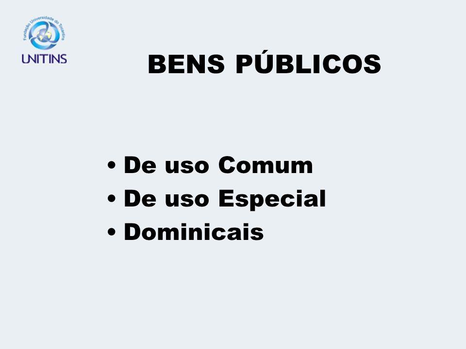 BENS PÚBLICOS De uso Comum De uso Especial Dominicais