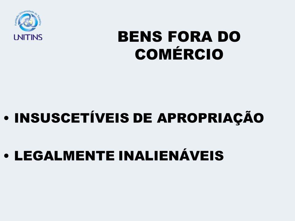 BENS FORA DO COMÉRCIO INSUSCETÍVEIS DE APROPRIAÇÃO LEGALMENTE INALIENÁVEIS