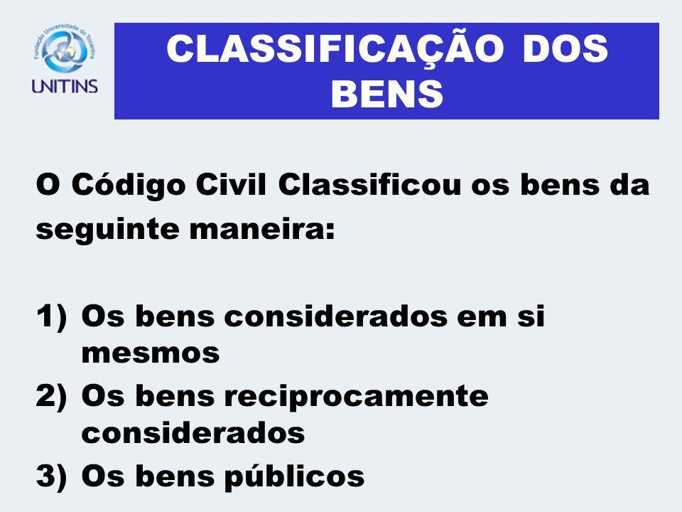 CLASSIFICAÇÃO DOS BENS O Código Civil Classificou os bens da seguinte maneira: 1)Os bens considerados em si mesmos 2)Os bens reciprocamente considerados 3)Os bens públicos