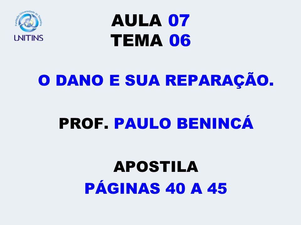 AULA 07 TEMA 06 O DANO E SUA REPARAÇÃO. PROF. PAULO BENINCÁ APOSTILA PÁGINAS 40 A 45