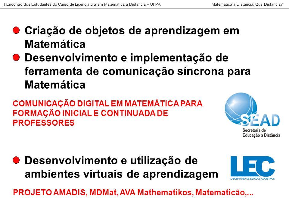 Criação de objetos de aprendizagem em Matemática Desenvolvimento e implementação de ferramenta de comunicação síncrona para Matemática I Encontro dos
