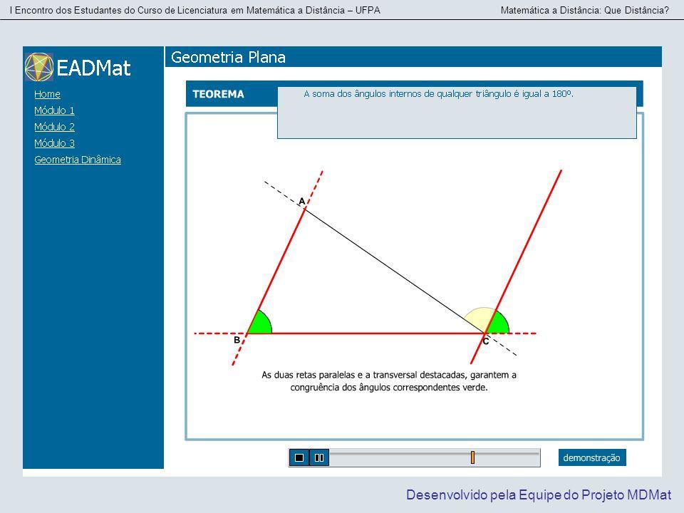 I Encontro dos Estudantes do Curso de Licenciatura em Matemática a Distância – UFPA Matemática a Distância: Que Distância? Desenvolvido pela Equipe do