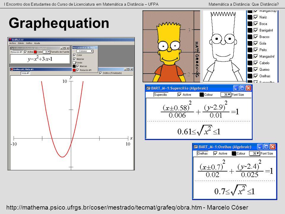 I Encontro dos Estudantes do Curso de Licenciatura em Matemática a Distância – UFPA Matemática a Distância: Que Distância? Graphequation http://mathem