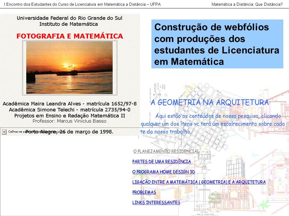 Construção de webfólios com produções dos estudantes de Licenciatura em Matemática I Encontro dos Estudantes do Curso de Licenciatura em Matemática a