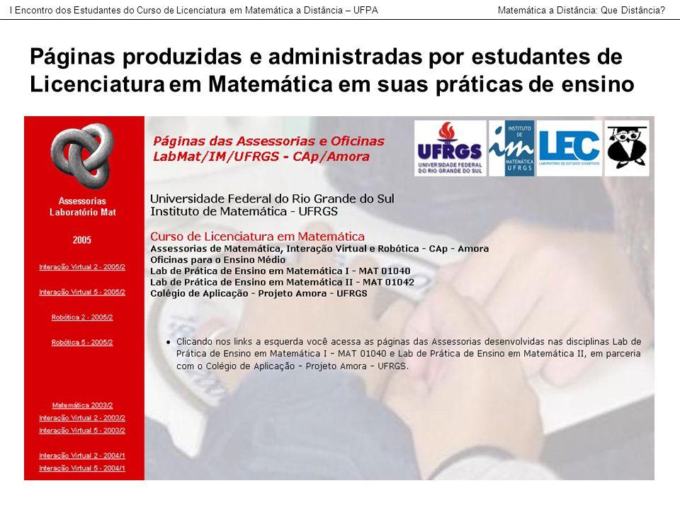 Páginas produzidas e administradas por estudantes de Licenciatura em Matemática em suas práticas de ensino