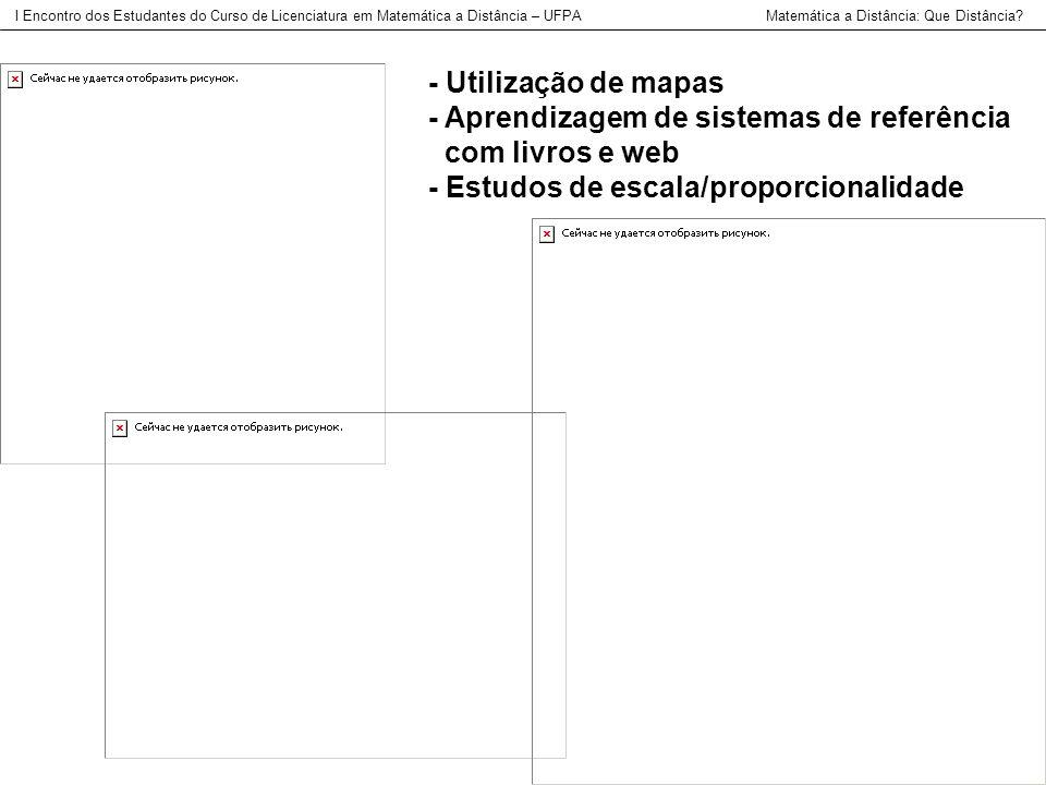 - Utilização de mapas - Aprendizagem de sistemas de referência com livros e web - Estudos de escala/proporcionalidade I Encontro dos Estudantes do Cur