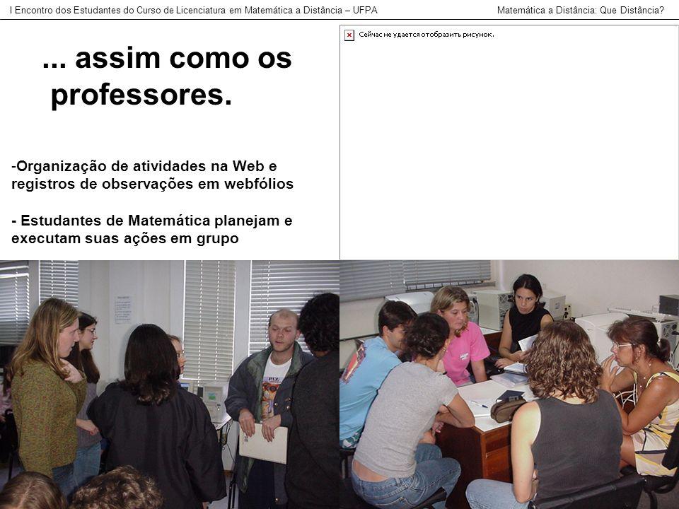 -Organização de atividades na Web e registros de observações em webfólios - Estudantes de Matemática planejam e executam suas ações em grupo I Encontr