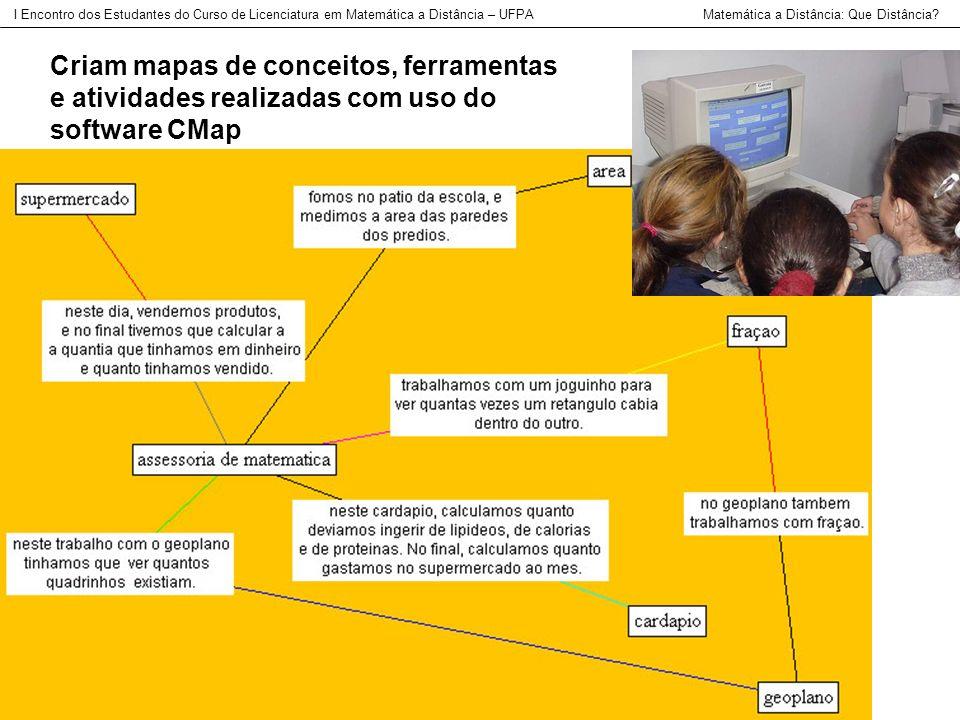 Criam mapas de conceitos, ferramentas e atividades realizadas com uso do software CMap I Encontro dos Estudantes do Curso de Licenciatura em Matemátic