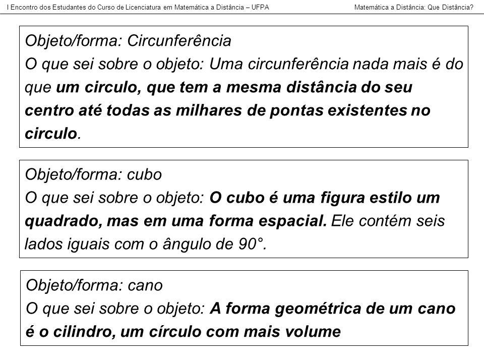 Objeto/forma: Circunferência O que sei sobre o objeto: Uma circunferência nada mais é do que um circulo, que tem a mesma distância do seu centro até t