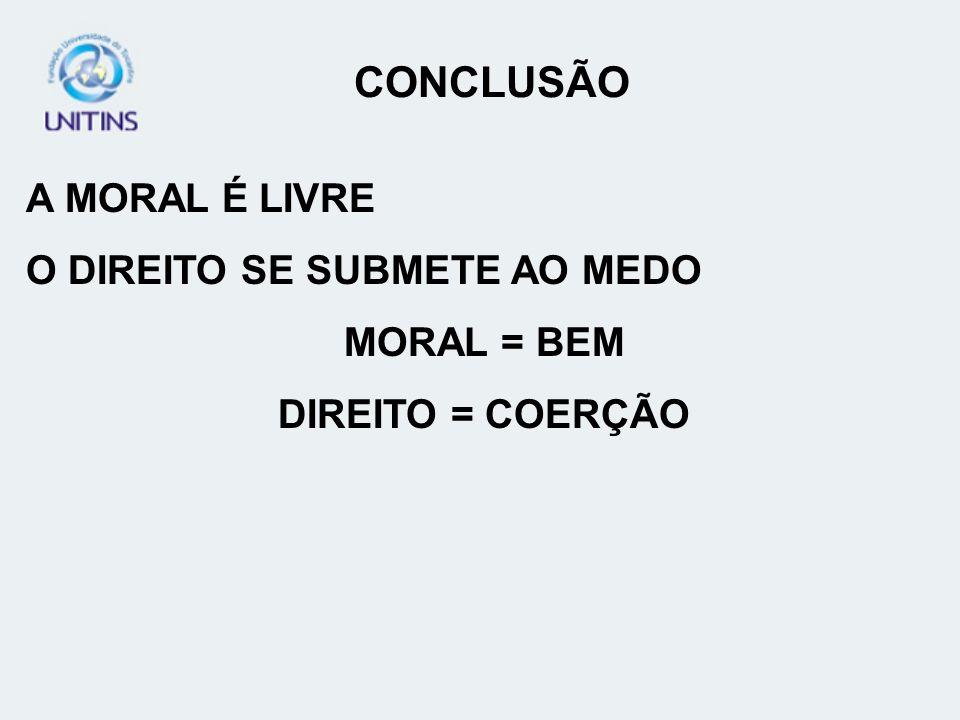 A MORAL É LIVRE O DIREITO SE SUBMETE AO MEDO MORAL = BEM DIREITO = COERÇÃO