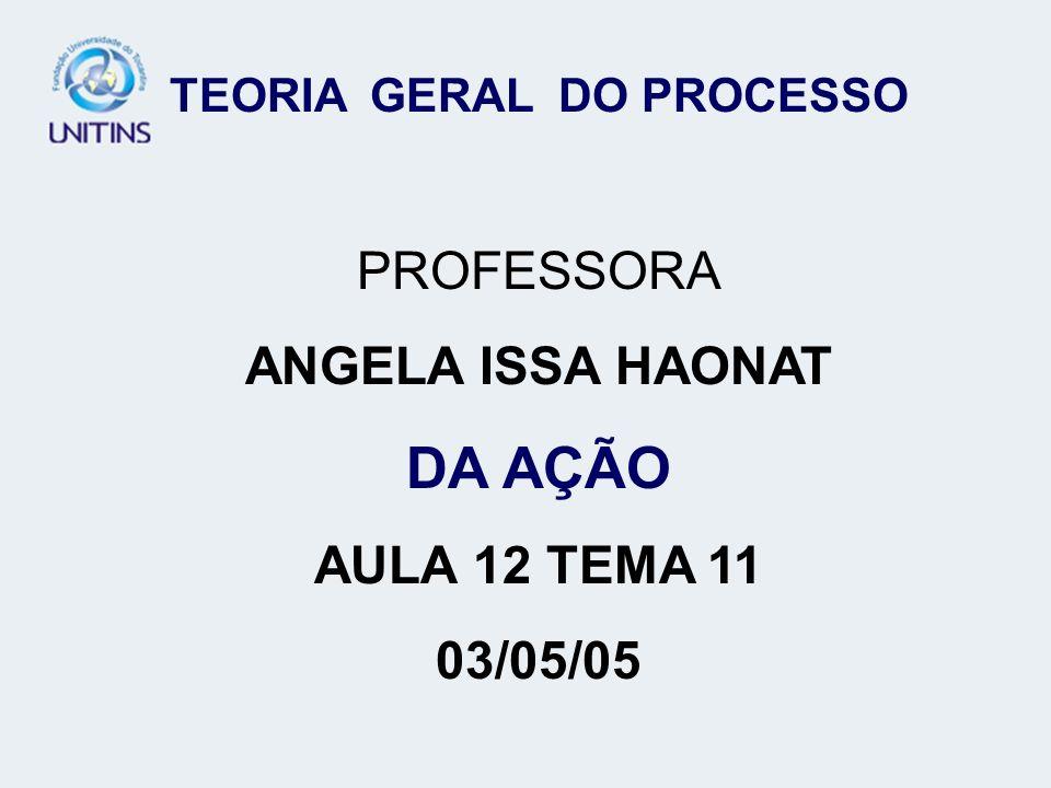 TEORIA GERAL DO PROCESSO PROFESSORA ANGELA ISSA HAONAT DA AÇÃO AULA 12 TEMA 11 03/05/05