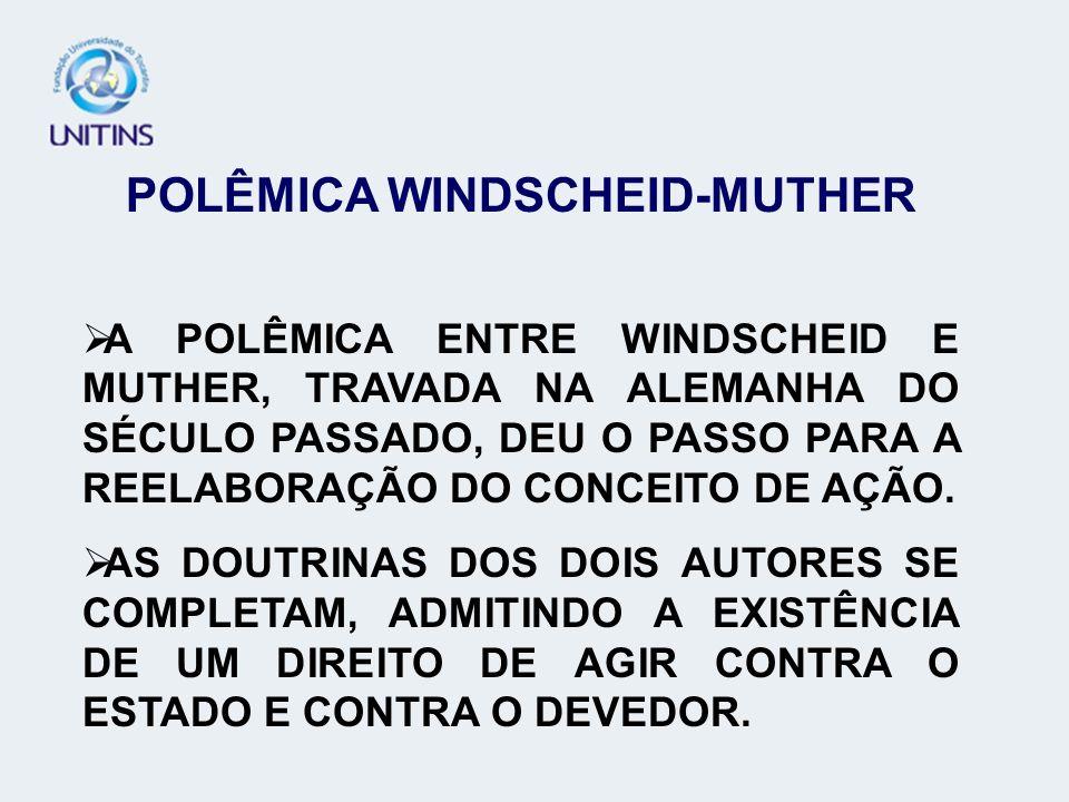 POLÊMICA WINDSCHEID-MUTHER A POLÊMICA ENTRE WINDSCHEID E MUTHER, TRAVADA NA ALEMANHA DO SÉCULO PASSADO, DEU O PASSO PARA A REELABORAÇÃO DO CONCEITO DE