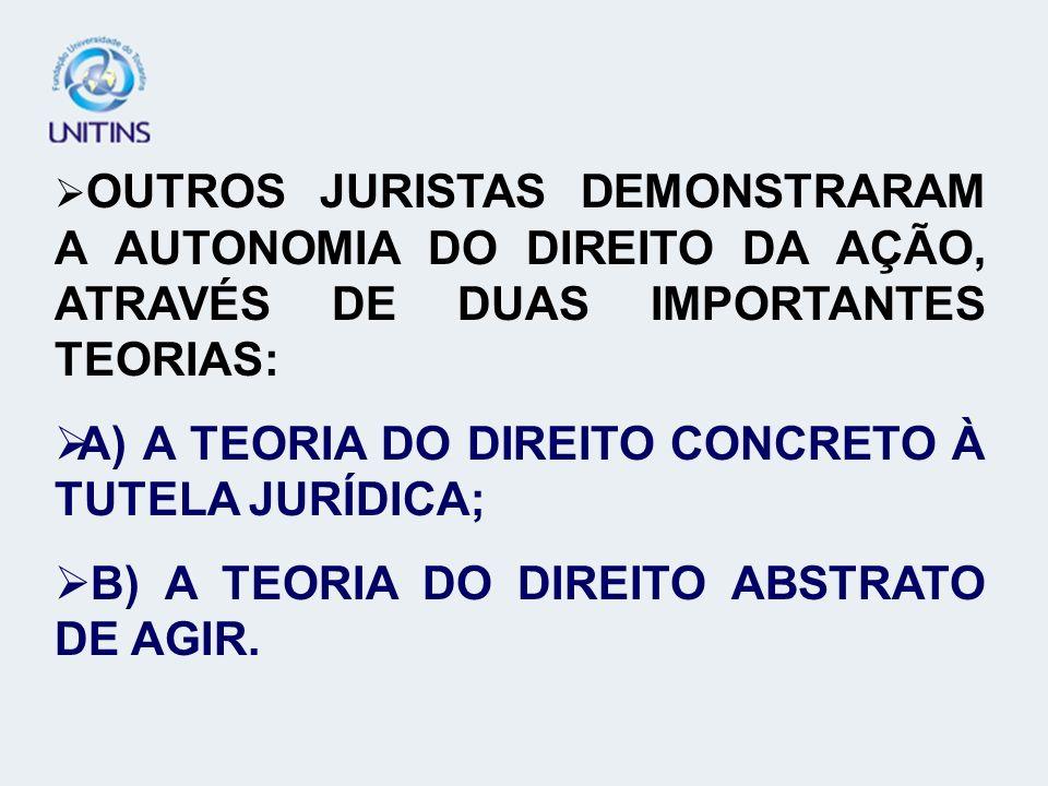 OUTROS JURISTAS DEMONSTRARAM A AUTONOMIA DO DIREITO DA AÇÃO, ATRAVÉS DE DUAS IMPORTANTES TEORIAS: A) A TEORIA DO DIREITO CONCRETO À TUTELA JURÍDICA; B