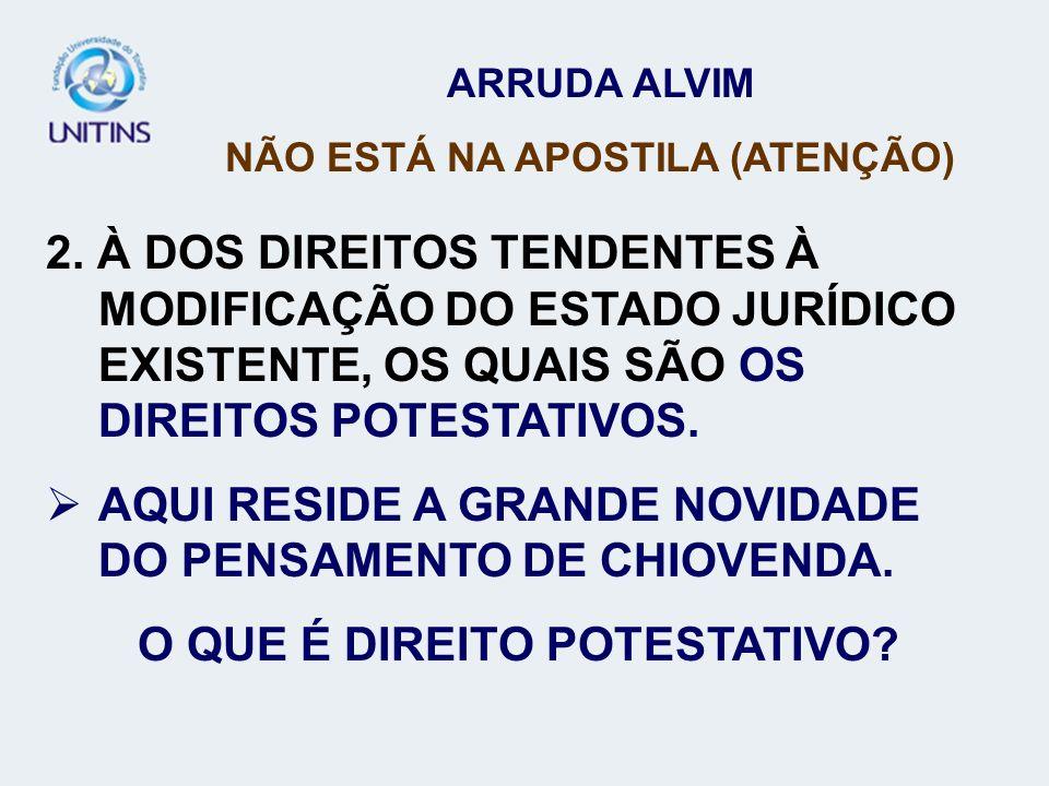 ARRUDA ALVIM NÃO ESTÁ NA APOSTILA (ATENÇÃO) 2. À DOS DIREITOS TENDENTES À MODIFICAÇÃO DO ESTADO JURÍDICO EXISTENTE, OS QUAIS SÃO OS DIREITOS POTESTATI