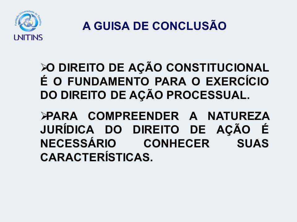 A GUISA DE CONCLUSÃO O DIREITO DE AÇÃO CONSTITUCIONAL É O FUNDAMENTO PARA O EXERCÍCIO DO DIREITO DE AÇÃO PROCESSUAL. PARA COMPREENDER A NATUREZA JURÍD