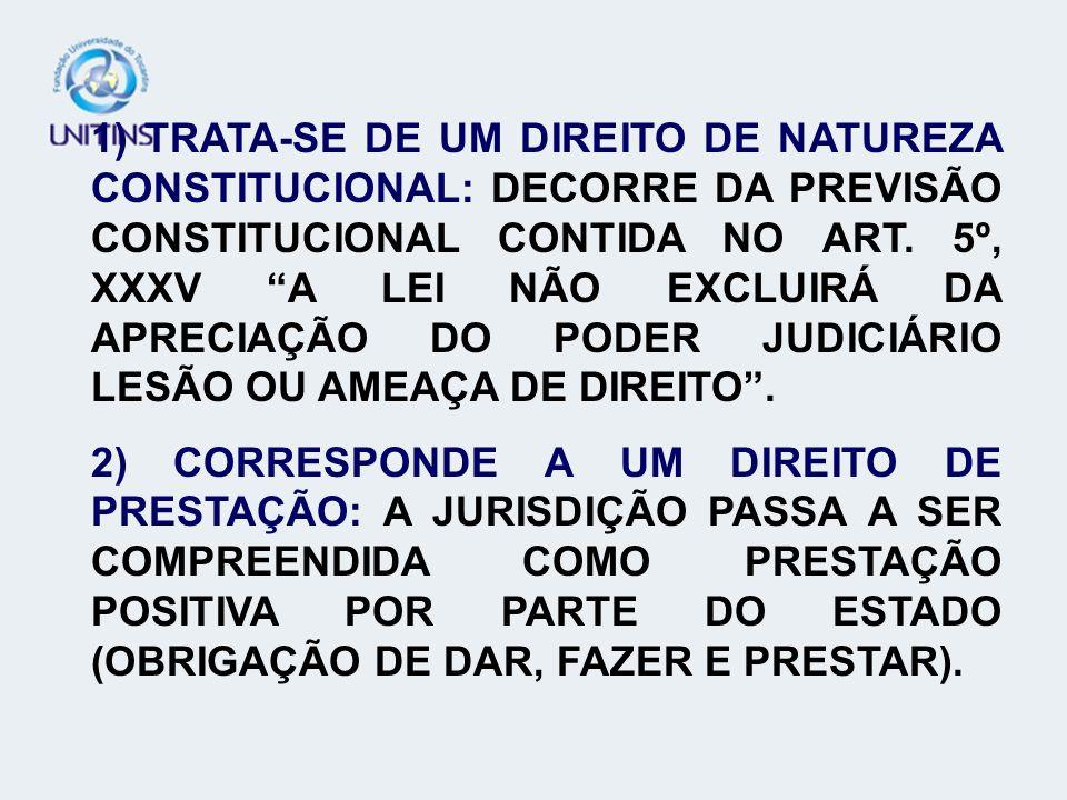 1) TRATA-SE DE UM DIREITO DE NATUREZA CONSTITUCIONAL: DECORRE DA PREVISÃO CONSTITUCIONAL CONTIDA NO ART. 5º, XXXV A LEI NÃO EXCLUIRÁ DA APRECIAÇÃO DO