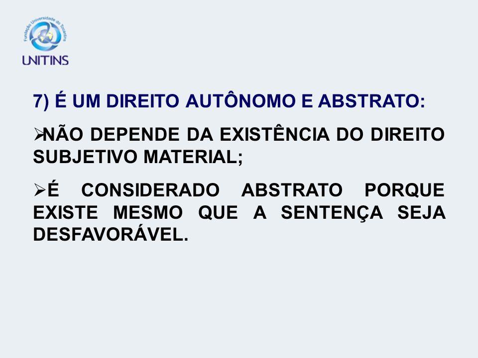 7) É UM DIREITO AUTÔNOMO E ABSTRATO: NÃO DEPENDE DA EXISTÊNCIA DO DIREITO SUBJETIVO MATERIAL; É CONSIDERADO ABSTRATO PORQUE EXISTE MESMO QUE A SENTENÇ