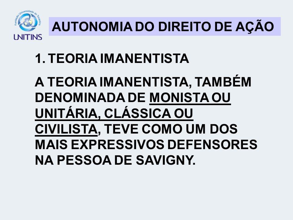 AUTONOMIA DO DIREITO DE AÇÃO 1. TEORIA IMANENTISTA A TEORIA IMANENTISTA, TAMBÉM DENOMINADA DE MONISTA OU UNITÁRIA, CLÁSSICA OU CIVILISTA, TEVE COMO UM