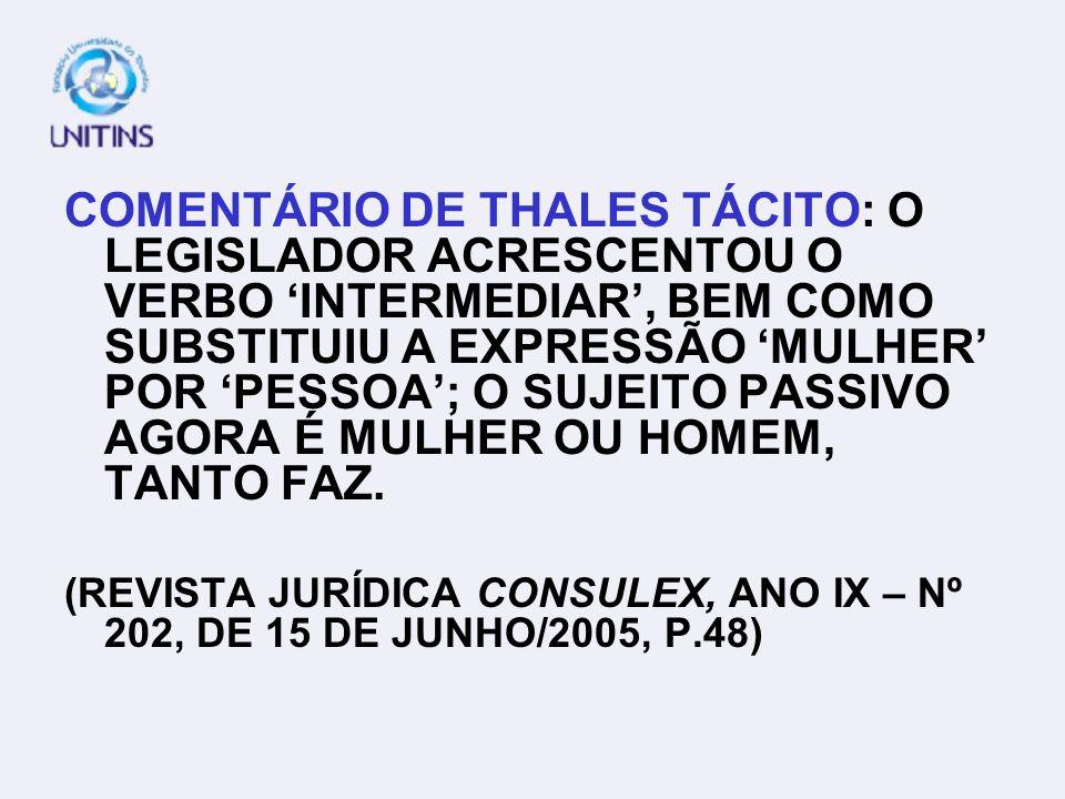 FUNÇÃO METALINGÜÍSTICA EX.: ART.231. (REDAÇÃO ANTIGA) PROMOVER OU FACILITAR A ENTRADA, NO TERRITÓRIO NACIONAL, DE MULHER QUE NELE VENHA EXERCER A PROS