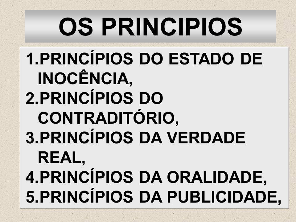 OS PRINCIPIOS 1.PRINCÍPIOS DO ESTADO DE INOCÊNCIA, 2.PRINCÍPIOS DO CONTRADITÓRIO, 3.PRINCÍPIOS DA VERDADE REAL, 4.PRINCÍPIOS DA ORALIDADE, 5.PRINCÍPIO
