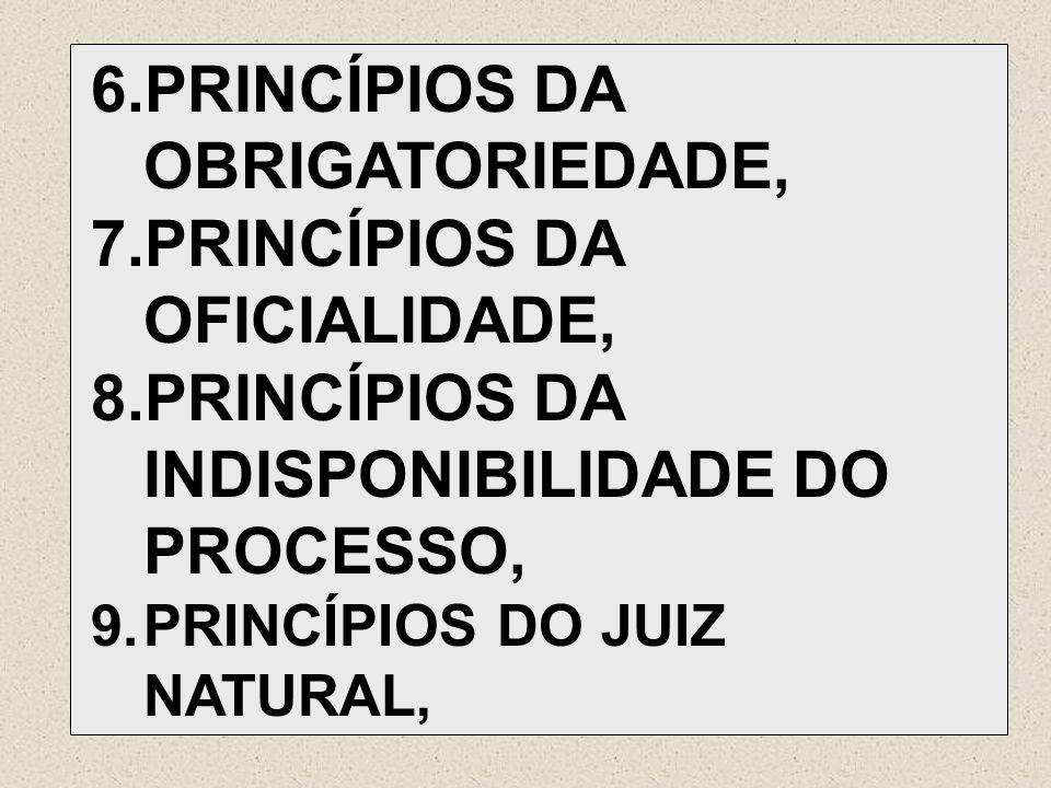 6.PRINCÍPIOS DA OBRIGATORIEDADE, 7.PRINCÍPIOS DA OFICIALIDADE, 8.PRINCÍPIOS DA INDISPONIBILIDADE DO PROCESSO, 9.PRINCÍPIOS DO JUIZ NATURAL,