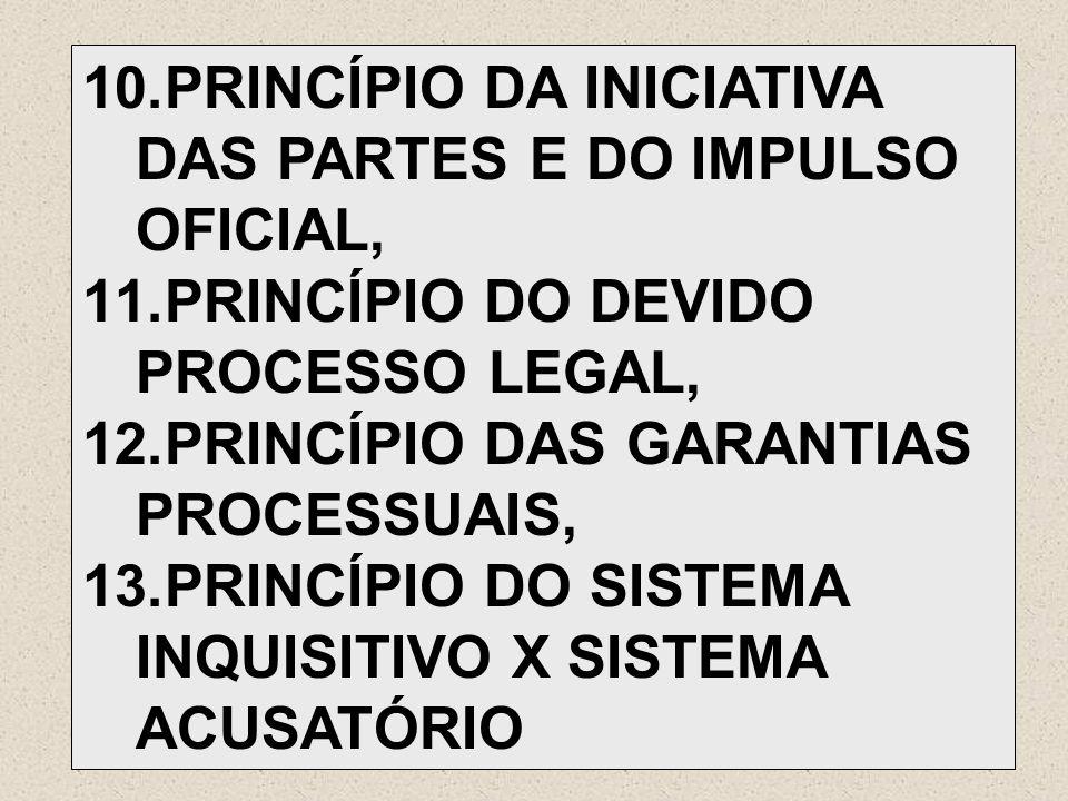 10.PRINCÍPIO DA INICIATIVA DAS PARTES E DO IMPULSO OFICIAL, 11.PRINCÍPIO DO DEVIDO PROCESSO LEGAL, 12.PRINCÍPIO DAS GARANTIAS PROCESSUAIS, 13.PRINCÍPI