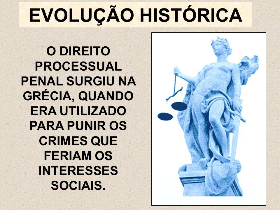 EVOLUÇÃO HISTÓRICA O DIREITO PROCESSUAL PENAL SURGIU NA GRÉCIA, QUANDO ERA UTILIZADO PARA PUNIR OS CRIMES QUE FERIAM OS INTERESSES SOCIAIS.