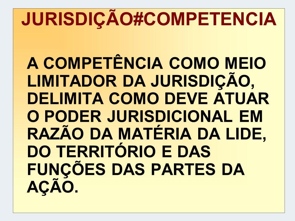JURISDIÇÃO#COMPETENCIA A COMPETÊNCIA COMO MEIO LIMITADOR DA JURISDIÇÃO, DELIMITA COMO DEVE ATUAR O PODER JURISDICIONAL EM RAZÃO DA MATÉRIA DA LIDE, DO