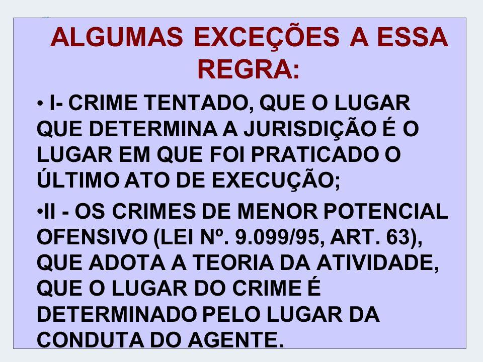 ALGUMAS EXCEÇÕES A ESSA REGRA: I- CRIME TENTADO, QUE O LUGAR QUE DETERMINA A JURISDIÇÃO É O LUGAR EM QUE FOI PRATICADO O ÚLTIMO ATO DE EXECUÇÃO; II -