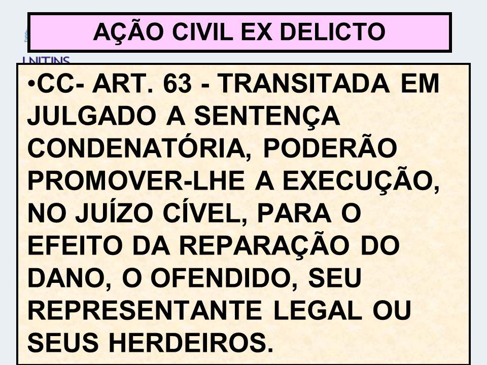 CC- ART. 63 - TRANSITADA EM JULGADO A SENTENÇA CONDENATÓRIA, PODERÃO PROMOVER-LHE A EXECUÇÃO, NO JUÍZO CÍVEL, PARA O EFEITO DA REPARAÇÃO DO DANO, O OF
