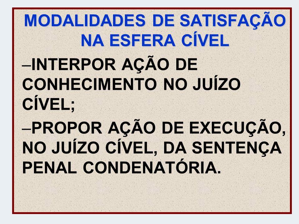 MODALIDADES DE SATISFAÇÃO NA ESFERA CÍVEL –INTERPOR AÇÃO DE CONHECIMENTO NO JUÍZO CÍVEL; –PROPOR AÇÃO DE EXECUÇÃO, NO JUÍZO CÍVEL, DA SENTENÇA PENAL C