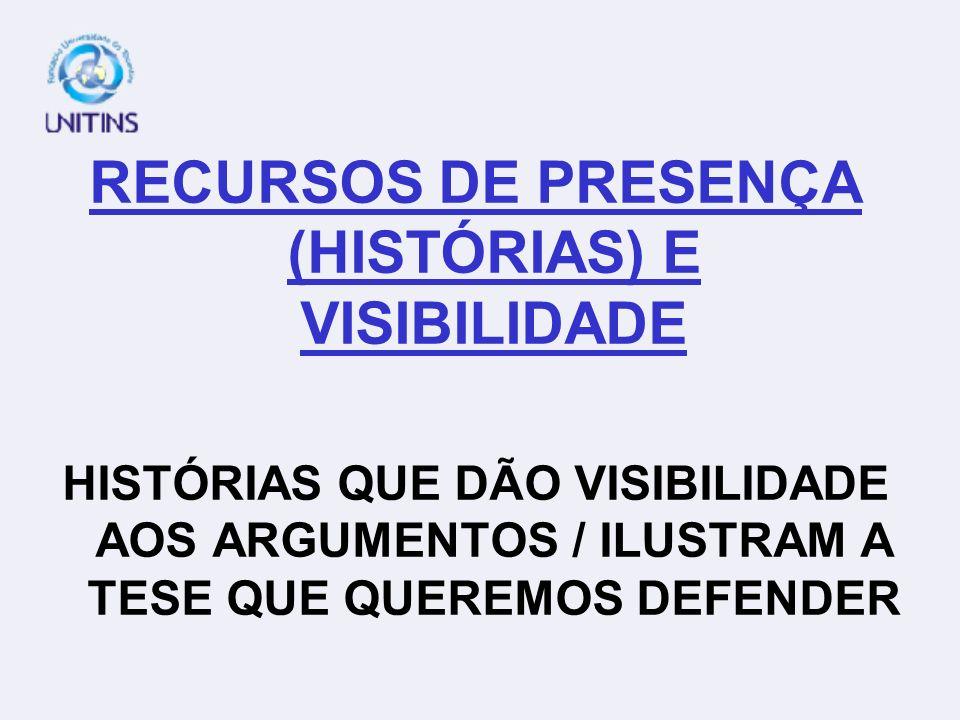 RECURSOS DE PRESENÇA (HISTÓRIAS) E VISIBILIDADE HISTÓRIAS QUE DÃO VISIBILIDADE AOS ARGUMENTOS / ILUSTRAM A TESE QUE QUEREMOS DEFENDER