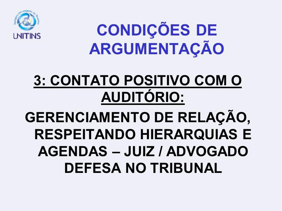 CONDIÇÕES DE ARGUMENTAÇÃO 3: CONTATO POSITIVO COM O AUDITÓRIO: GERENCIAMENTO DE RELAÇÃO, RESPEITANDO HIERARQUIAS E AGENDAS – JUIZ / ADVOGADO DEFESA NO