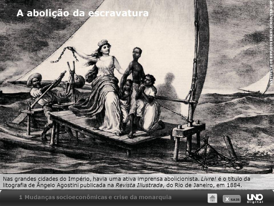 X SAIR A abolição da escravatura Nas grandes cidades do Império, havia uma ativa imprensa abolicionista. Livre! é o título da litografia de Ângelo Ago