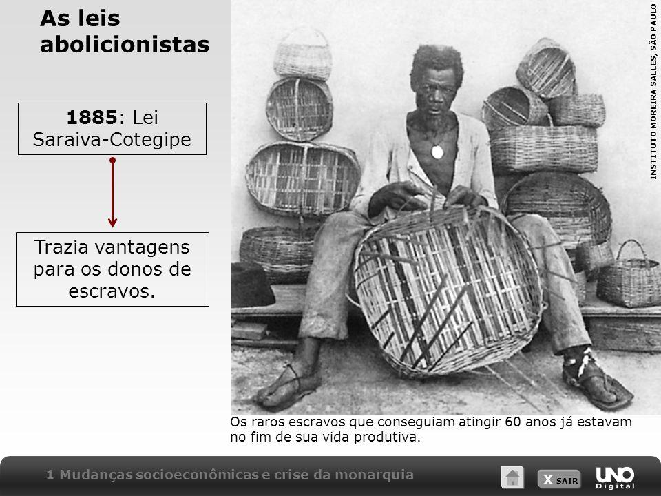 X SAIR As leis abolicionistas 1885: Lei Saraiva-Cotegipe Trazia vantagens para os donos de escravos. Os raros escravos que conseguiam atingir 60 anos