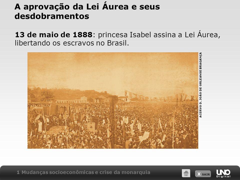 X SAIR A aprovação da Lei Áurea e seus desdobramentos 13 de maio de 1888: princesa Isabel assina a Lei Áurea, libertando os escravos no Brasil. 1 Muda