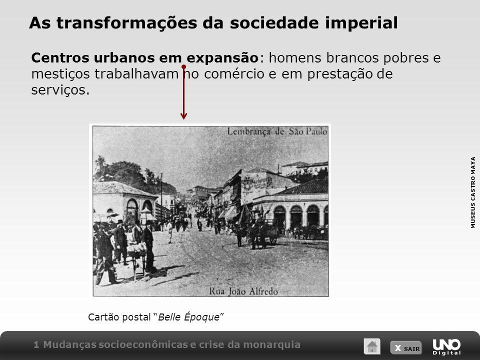 X SAIR As transformações da sociedade imperial Centros urbanos em expansão: homens brancos pobres e mestiços trabalhavam no comércio e em prestação de