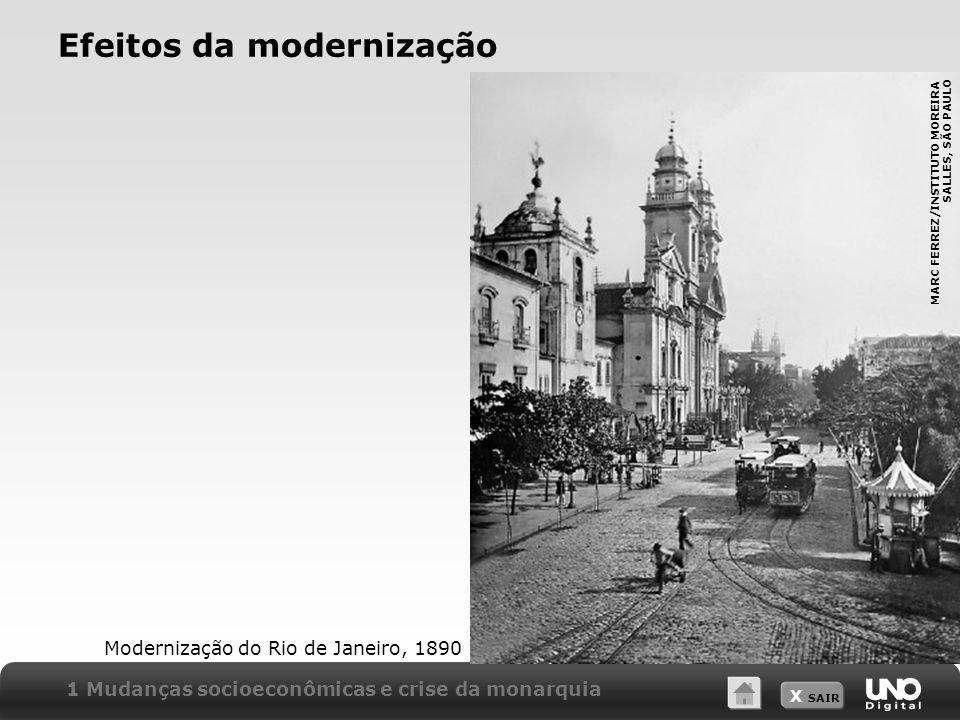 X SAIR Efeitos da modernização Modernização do Rio de Janeiro, 1890 1 Mudanças socioeconômicas e crise da monarquia MARC FERREZ/INSTITUTO MOREIRA SALL